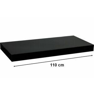 STILISTA VOLATO 31078 Nástěnná police - lesklá černá 110 cm