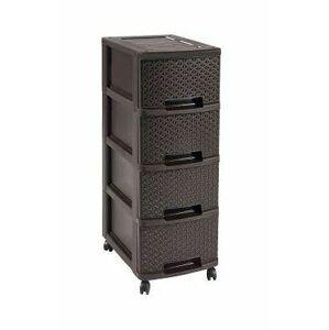 CURVER MY STYLE skříňka 4 boxy, 26,4 x 67,5 x 35,1 cm, hnědá, 00747-210