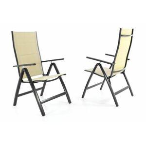 Garthen DELUXE 40798 Sada dvou zahradních skládacích židlí - krémová