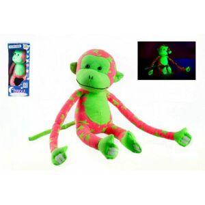 Teddies Opice svítící ve tmě růžovo-zelená