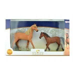 Teddies Sada koně 2ks plast v krabici 44x26x7cm