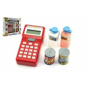 Teddies 59905 Ruční pokladna se skenerem + potraviny plast na baterie v krabici 25x22 cm
