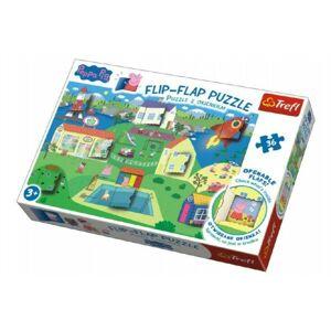 Puzzle s otevíracími okénky - Svět prasátka Peppy 36 dílků v krabici 33x23x6cm
