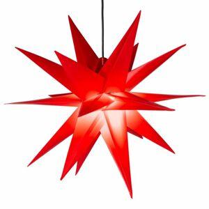 Nexos 64199 Vánoční dekorace - hvězda s časovačem 1 LED, 55 cm, červená
