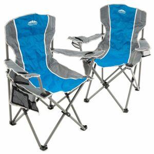 Divero D68314 sada 2 ks skládacích židlí - šedá/modrá
