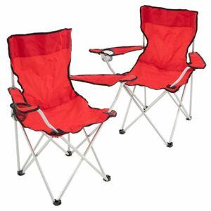 Divero D68387 Set červených skládacích kempingových židlí s držákem nápojů