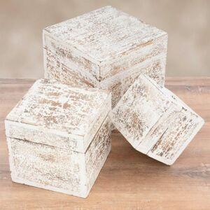 Sada dřevěných vintage boxů, bílé