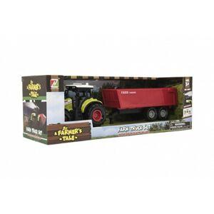 Traktor s vlekem plast 35cm na setrvačník na baterie se zvukem se světlem v krabici 39x13x13cm