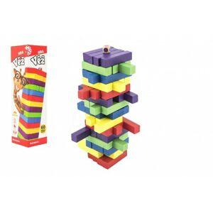 Hra věž dřevěná 60 ks barevných dílků společenská hra
