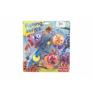 Hra ryby/rybář s prutem 20 cm plast na kartě 26 x 29 cm