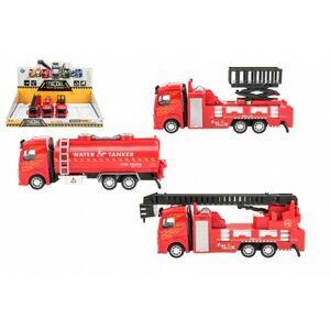 Teddies Auto hasiči kov/plast 21 23cm na zpětné natažení 3 druhy 6ks v boxu