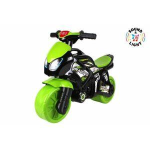 Teddies motorka zeleno-černá plast na baterie se světlem se zvukem v sáčku 36x53x74cm