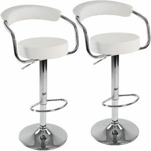 Miadomodo 74201 Sada barových židlí 2 ks, bílá, 53 x 105 x 52 cm