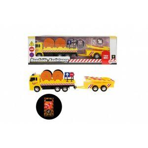 Teddies Auto nákladní plast 17cm silniční pomoc se svítícím značením s doplňky na baterie