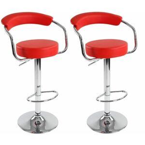 Miadomodo 74202 Sada barových židlí 2 ks, červená, 53 x 105 x 52 cm