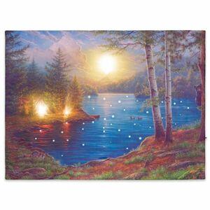 Nástěnná malba horské jezero, 3 LED + 40 LED, 30 x 40 cm