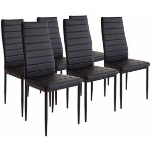Miadomodo 74125 Sada jídelních židlí s PU kůží, černé, 6 ks