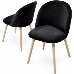 Sada jídelních židlí sametové, černé, 2 ks
