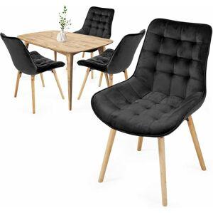 Sada prošívaných jídelních židlí, černé, 4 ks