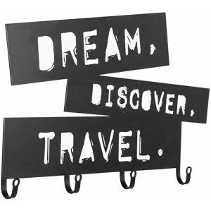 Nástěnný věšák se čtyřmi háčky, Dream, Discover, Travel