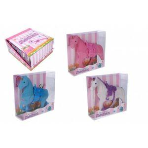 Jednorožec kůň fliška se sedlem 16 cm 3 barvy v krabičce