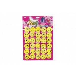 Odznak smajlík velký žlutý kov/plast 30 ks na kartě v sáčku