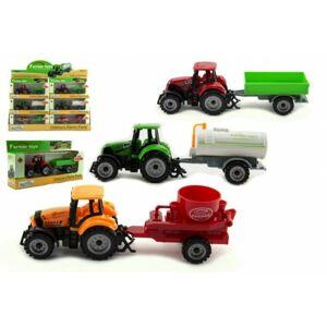 Traktor s přívěsem plast/kov 19cm
