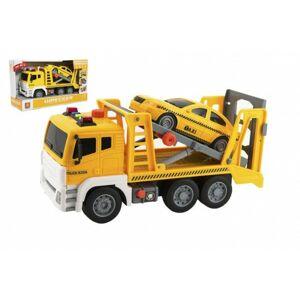 Auto kamion přepravník+1 auto na setrvačník na baterie