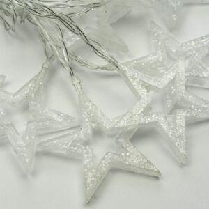 Sada 2 ks světelných řetězů třpytivé hvězdičky, teple bílá