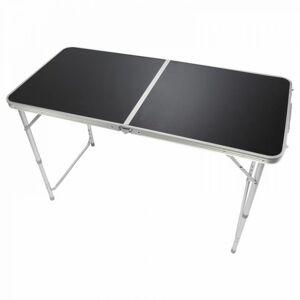 Hliníkový sklopný přenosný stůl, černý, 120 x 60 cm