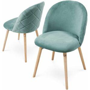 Miadomodo Sada jídelních židlí sametové, tyrkysové, 2 ks