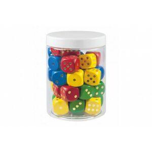 Hrací kostky barevné dřevo společenská hra 34 ks v dóze