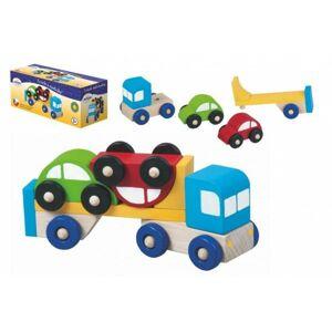 Truck s autíčky dřevo 14 x 5,5 x 5,5 cm v krabičce