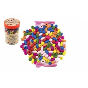 Korálky dřevěné barevné s gumičkami cca 90 ks v dóze