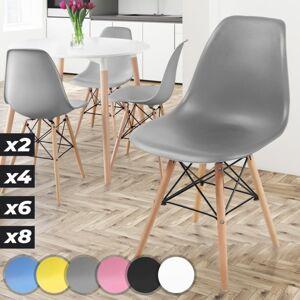 MIADOMODO Sada jídelních židlí, 4 kusy, šedé