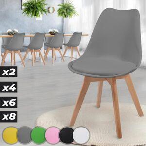 MIADOMODO Sada jídelních židlí, šedá, 8 kusů