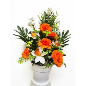 Umělá květina - růže v květináči - oranžová, 62 cm