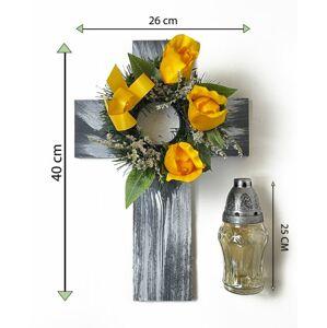Kříž se svíčkou a umělou květinou ve žluté barvě
