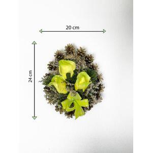 Smuteční květina ve tvaru srdce, malá, zelená