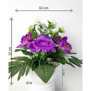 Dekorativní miska s umělou chryzantémou a růží, fialová, 32 cm