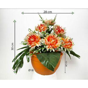 Dekorativní umělá chryzantéma v květináči, oranžová, 30 cm