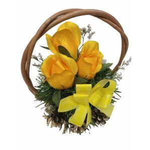 Květinový košík malé velikosti, žlutá