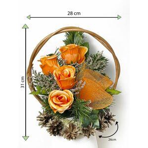 Velký květinový koš, oranžový