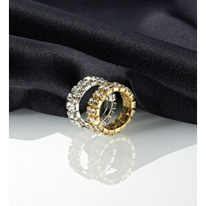 Magnet 3Pagen Pružný prsten s kamínky stříbrná