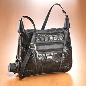 Magnet 3Pagen Patchworková kabelka s motivem hadí kůže černá