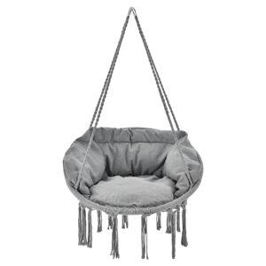 Houpací židle Cadras v světle šedé barvě s podsedáky a opěradly